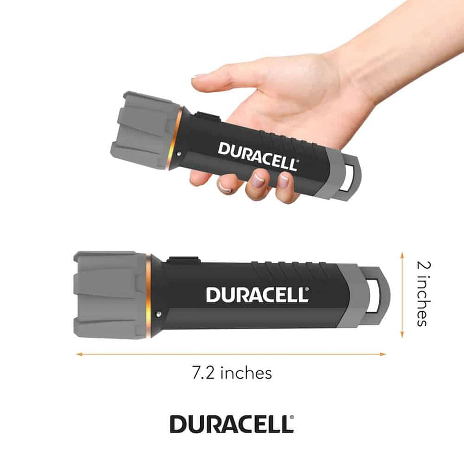 person holding flashlight for scale