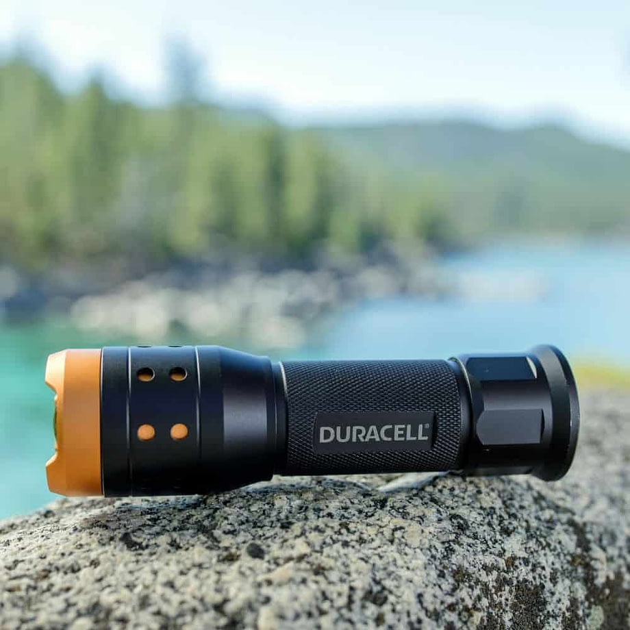 Flashlight on a rock at Lake Tahoe