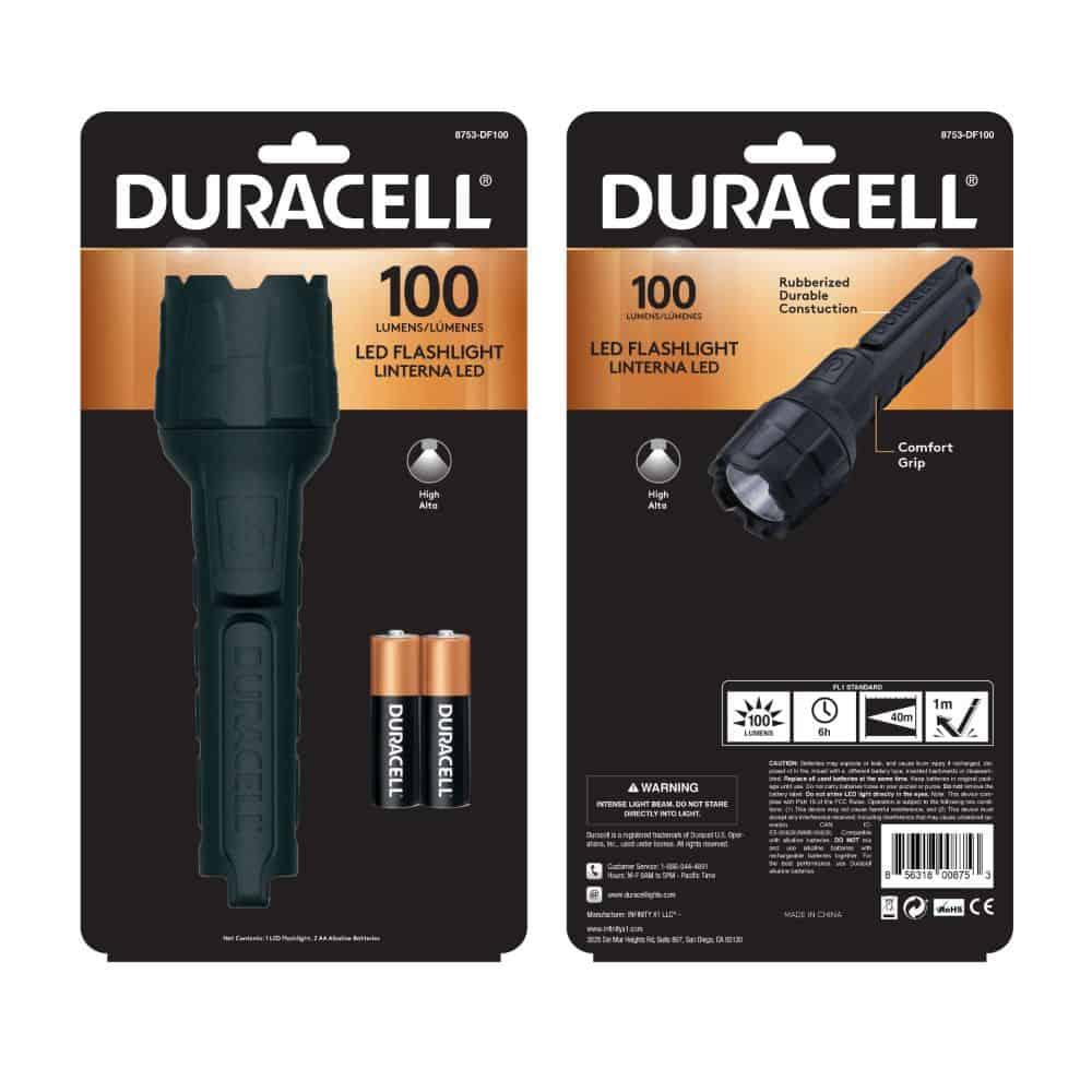 100 lumen rubber flashlight in packaging