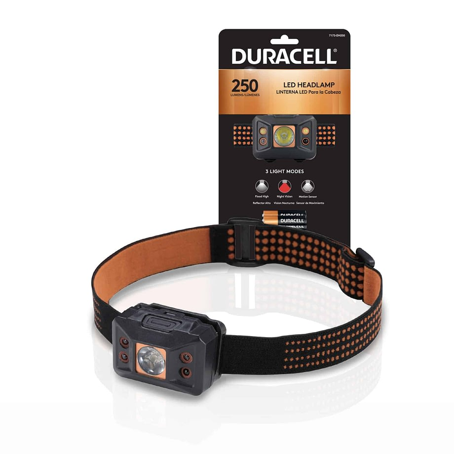 250 lumen headlamp next to packaging