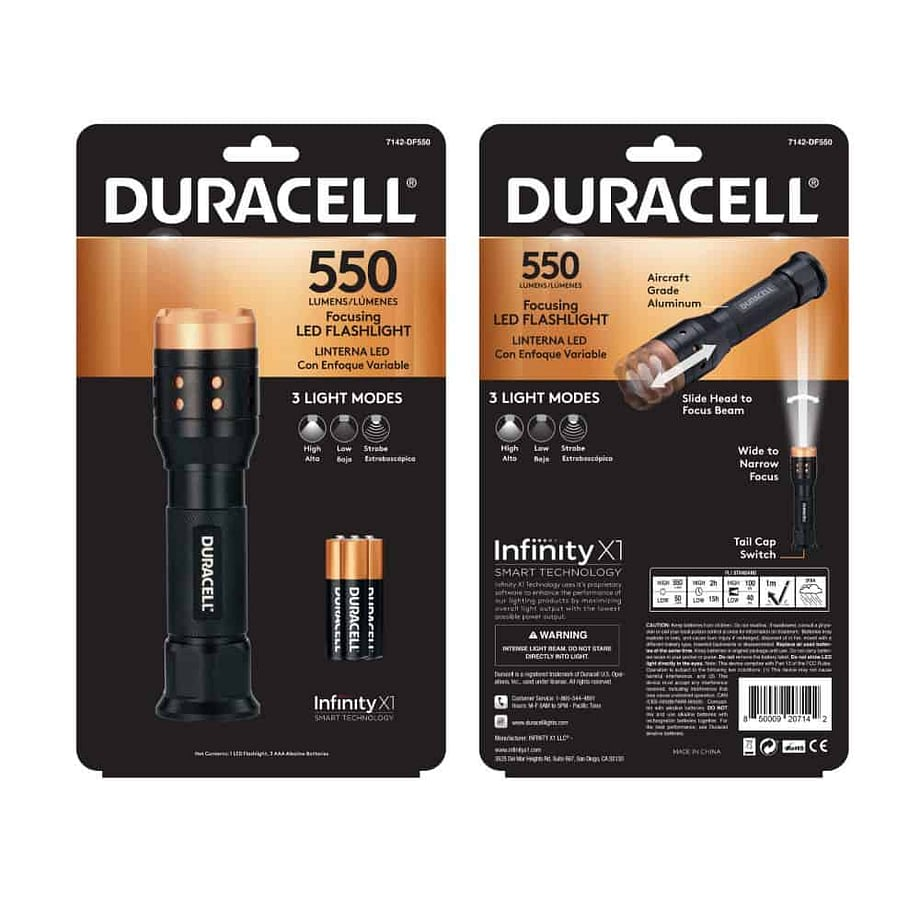 550 lumen flashlight in packagin
