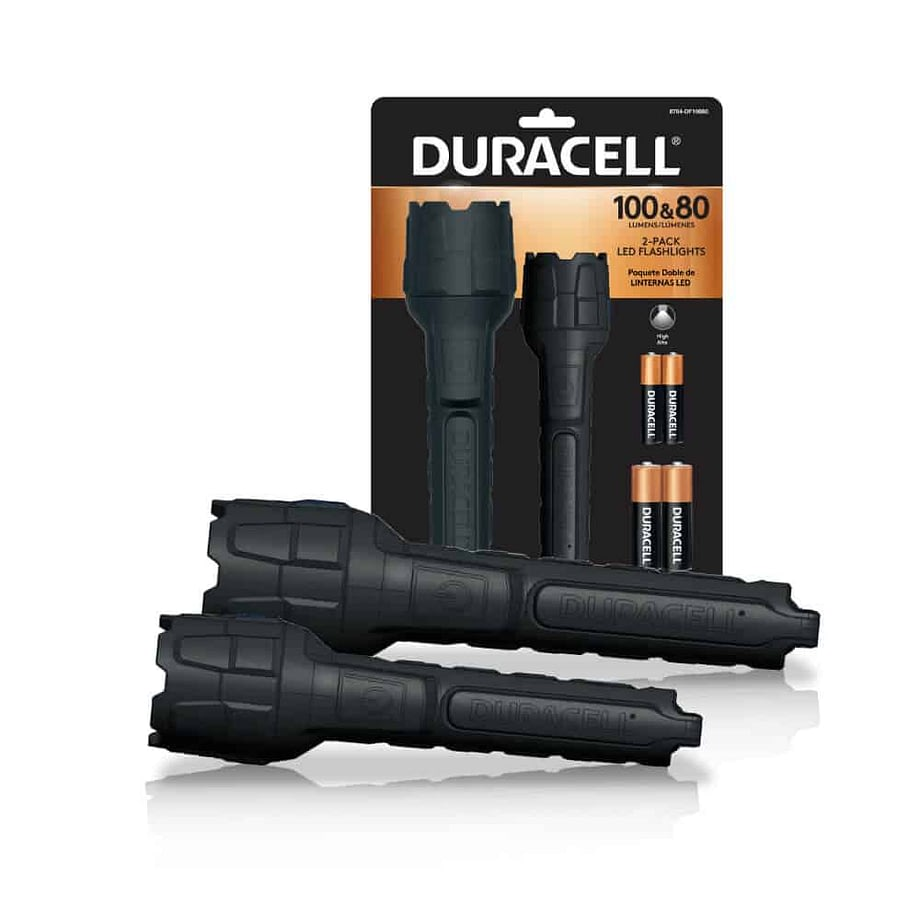 80 & 100 lumen rubber flashlights with packaging