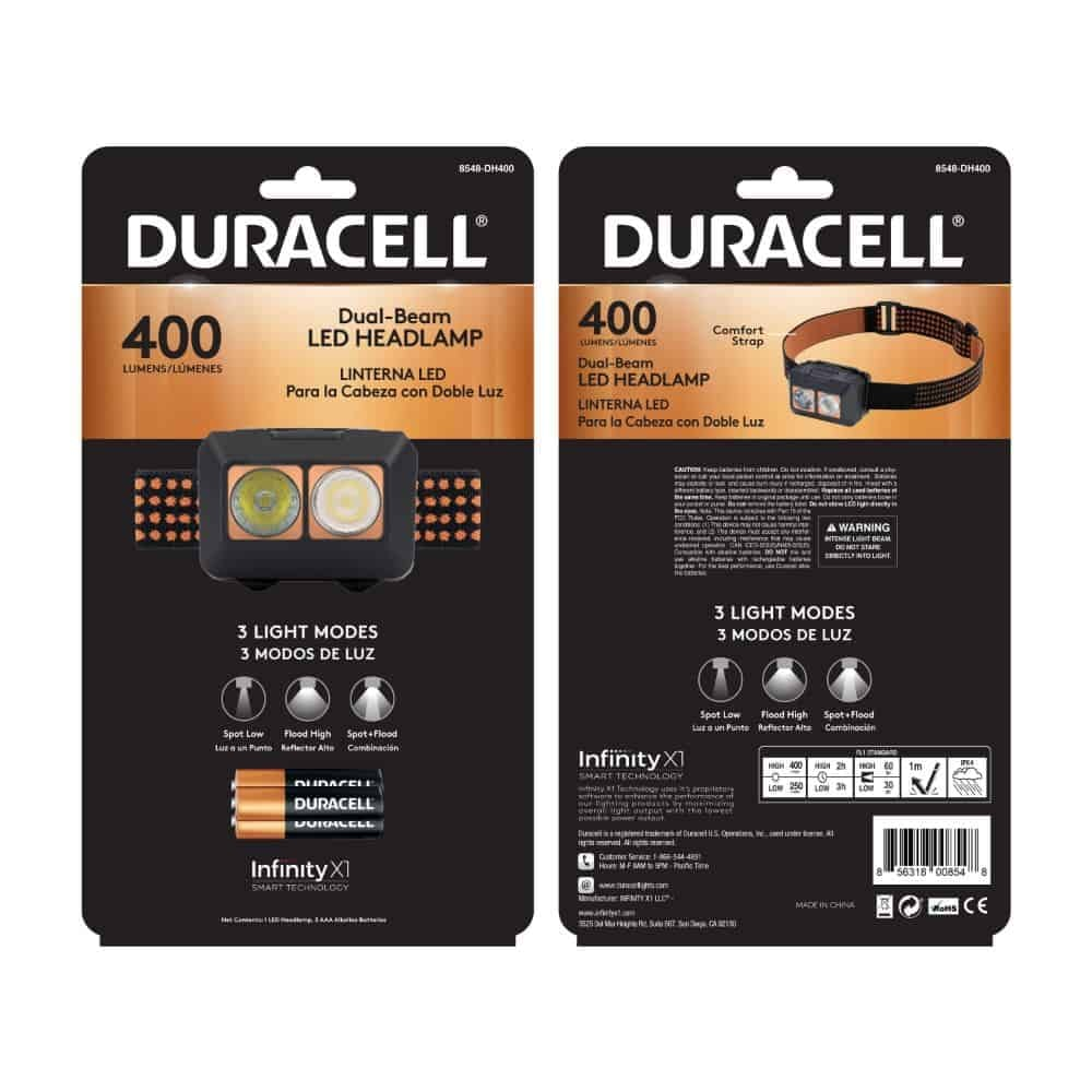 400 Lumen Dual-Beam Headlamp in Package