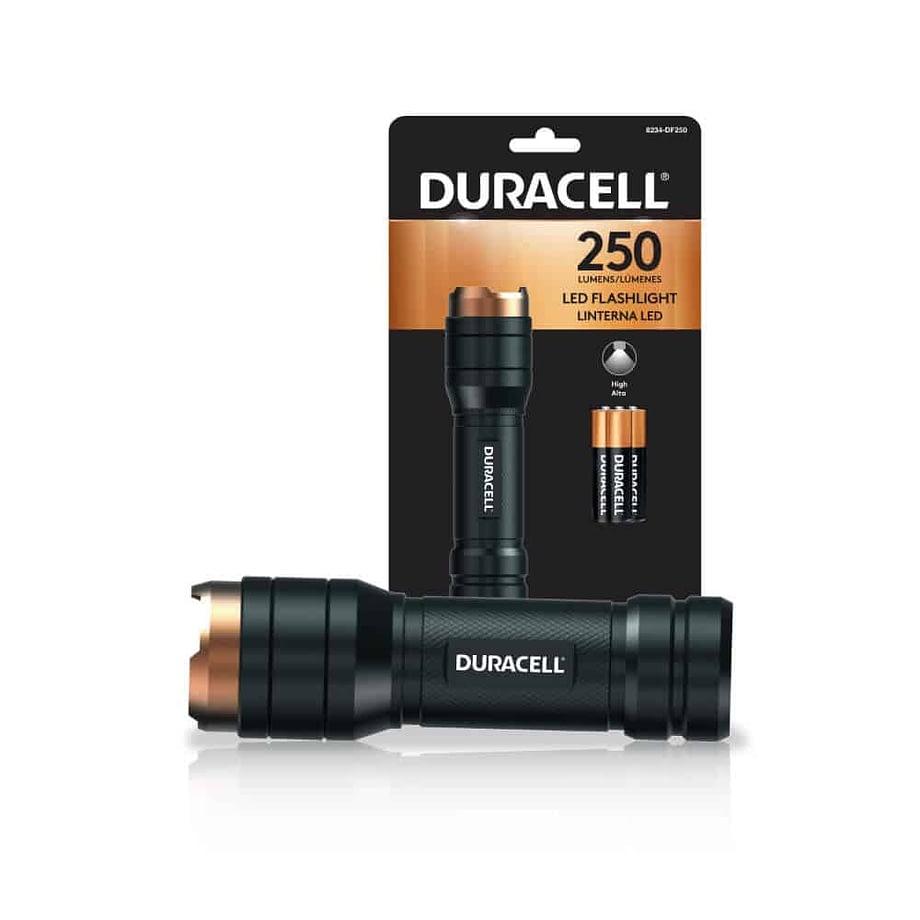 250 lumen flashlight next to package
