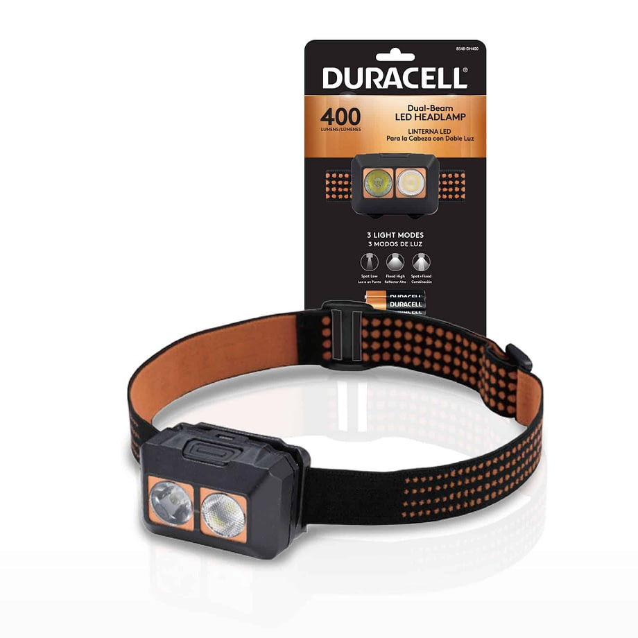 400 lumen headlamp next to packaging