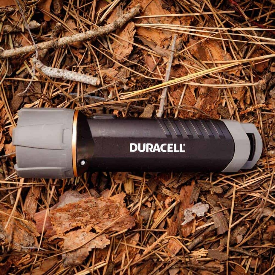 floating flashlight in the woods