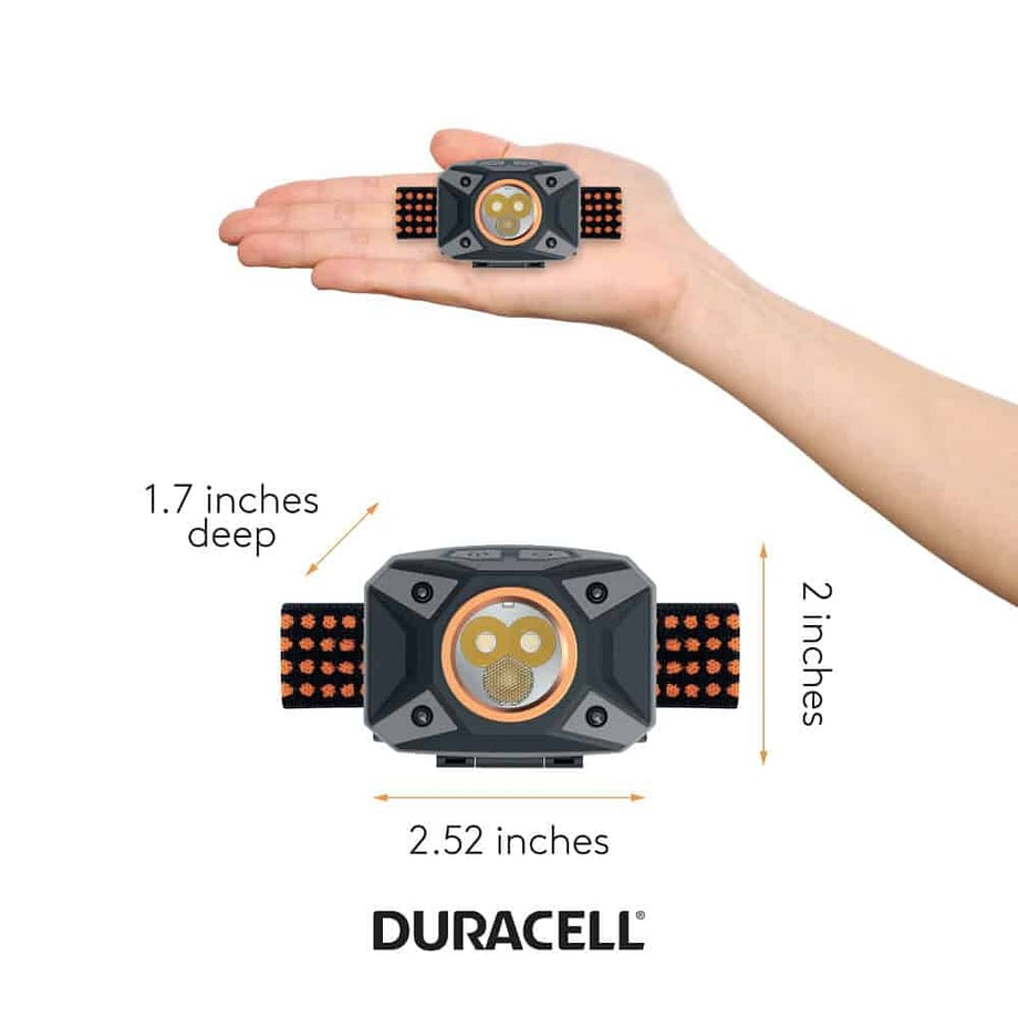 person holding headlamp to show size