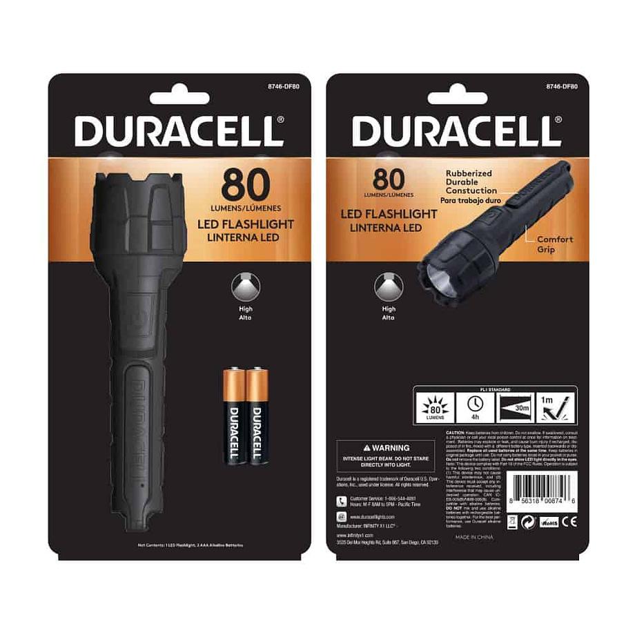 80 Lumen Rubber Flashlight in Package